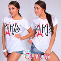 Casual T-Shirt Paris Print Crew Neck Short Sleeve Ladies Top Sizes 8-14 FB125