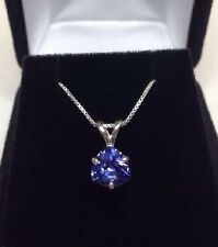 BEAUTIFUL Tanzanite Trillion Solitaire Pendant Sterling Silver Necklace NWT 18""