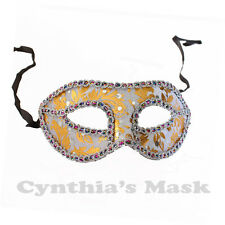 Grey and Gold Venetian Masquerade Mask w/Rainbow Trim BZ606B for Party