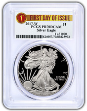 2017-W Pcgs Pr70 Proof Silver Eagle Ribbon First Day Issue 1 Of 1000