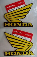 Honda Fuel Tank Wing Decal Wings Sticker x 2 YELLOW / BLACK ** GENUINE HONDA **