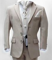UK BOYS FORMAL 5 PC BEIGE & IVORY PAGEBOY SUIT WEDDING PROM 6M to 16Y