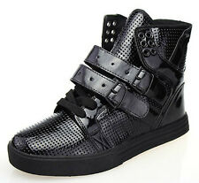 Mens High Top Sneakers Buckle Lace Up Boots Hip-hop Skateboard Casual Shoes New