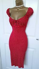 Jane Norman Red Polka Dot Gypsy Pencil Wiggle Dress UK 10