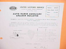 1953 DELCO AUTO RADIO AUXILIARY REAR SEAT SPEAKER SERVICE MANUAL MODEL 6119 6120