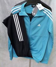 new ADIDAS womens FRIEDA TRACKSUIT blue jacket + pants gym track suit set M
