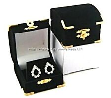 48 Black Velvet & Brass Accent Earing Jewelry Display Presentation Gift Boxes