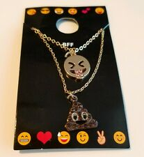 EMOJI Poop and Smiley Face Best Friend Charm Pendants Necklaces BFF Valentine's