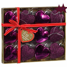 12pk Heart Shaped Baubles Plum Color Christmas Glitter Tree Decorations