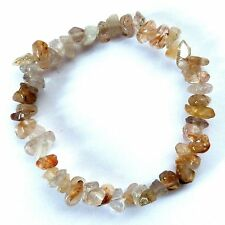 **BEAUTIFUL RUTILATED QUARTZ CRYSTAL CHIP BRACELET - HEALING / REIKI**