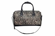 New Large Black Fur Zebra Print Premium Real Cowide Leather Weekend Holdall Bag