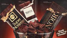 Publicité Advertising 1990 ( Double page )  Chocolat Noir de NESTLE noisette ...