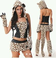 Woman's ladies sexy Leopard Print Cheshire Cat Halloween Costume