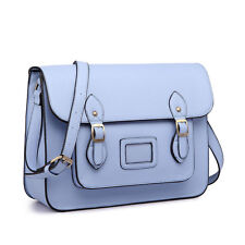Ladies Faux Leather Large Satchel Shoulder Bag Briefcase School College Blue