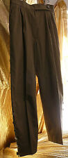 Yves St Laurent Rive Gauche button leg chocolate brown pleated trousers Sz 44