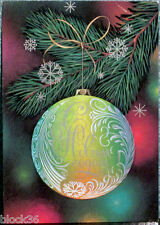 1985 Russian card HAPPY NEW YEAR: Large Christmas tree decoration Ball