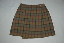 GH BASS & CO Womens Brown Plaid Lined Wool Wrap Skirt NEW Size 4 25x18