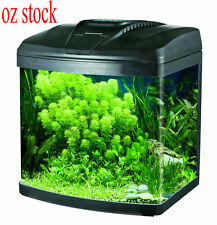 NEW 20L AQUARIUM FISH TANK CURVED COMPLETE SET FILTER PUMP LIGHT LED BLACK