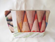 Hand Crafted Toiletries/Wash/Make up/Cosmetic/Pencil Bag Lined & Zipped: PENCILS