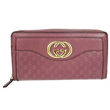 Auth GUCCI GG Pattern Long Zippy Bifold Wallet Purse Leather Pink Italy 02K923
