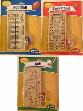 20-Pack Wood Travel Peg Game with Pegs and Dices - Football, Basketball, Golf