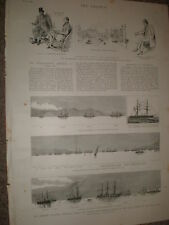 Combined navy fleets of the Great Powers at Suda Bay Crete 1886 print rf BW