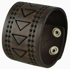 """Nemesis Hole Punched and Triangle Embossed Leather Cuff Snap On Bracelet 9"""""""