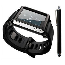(Black) Aluminum Multi-Touch Watch Band For iPod Nano 6/6th