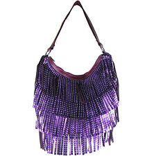 PURPLE FULL METALLIC RHINESTONE FRINGE LOOK SHOULDER HANDBAG FASHION PURSE BAG