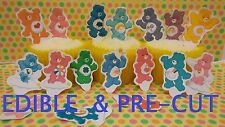 x24 CARE BEARS edible wafer paper stand up cup cake toppers PRE-CUT