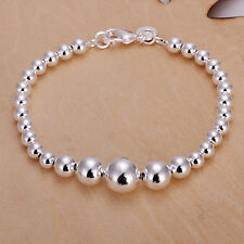 Women's Unisex 925 Sterling Silver Bracelet Hollow Beads Balls L47