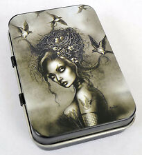 VICTORICAN VINTAGE SWALLOWS GIRL GOTH PUNK ROCK TATTOO TOBACCO TIN MINT PIN-UP