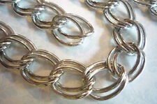 "Extra Large Double Link Silver Chain Twisted Oval Links 20"" Chunky Curb Chain"