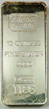 Ten Troy Ounce Credit Suisse Essayeur Rondeur 10 oz .999 Fine Bar - 1186