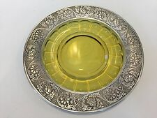 """Rare Antique Sterling Silver Overlay Green Amber Glass Plate, 7 1/2"""" Diameter"""