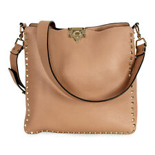Valentino Rockstud Alce Hobo Messenger Bag - Soft Noisette