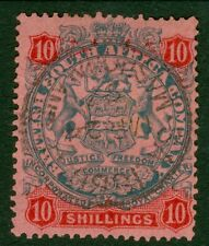 SG 50 Rhodesia 10/- slate & vermilion/rose. A very fine used CDS example CAT £70
