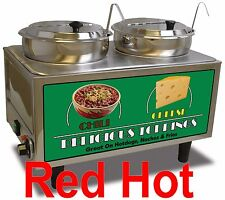 New Chili & Nacho Cheese Commercial Double Food Warmer by Benchmark 51072