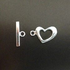 Solid Sterling Silver 925 Toggle Clasp - 18mm Diam - 17mm Bar  - Heart  Design