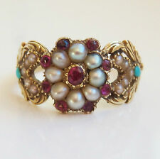 Fine Antique Georgian Regency Gold Ruby, Turquoise & Pearl Cluster Ring c1820