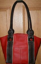 Sharp Two Tone Red & Brown Pebbled Leather Tignanello Shoulder Bag Purse Satchel