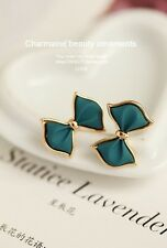 New Fashion Gold Plated Sky Blue Charm Bow Earrings For Girls Women