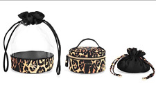 3 VICTORIA'S SECRET MAKEUP CASE DRAWSTRING COSMETIC TRAVEL BAG SET LEOPARD PRINT