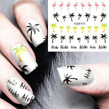New Nail Art UV Gel Manicure Stickers Palm Trees Flamingo Water Transfer Decals