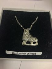 """Ice Hockey Boot Sport PP-SP13 Emblem on Silver Platinum Plated Necklace 18"""""""