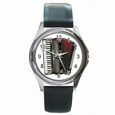 Accordion Vintage Music Player Beautiful Accordionist Leather Watch New!