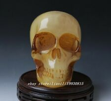Collection Rare Chinese OLD Hand Carved MILA Skull BIG statue Decoration