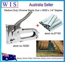 "Medium Duty Chrome Manual Staple Gun with 5000 x 1/4"" Crown Staples,Rapid Tacker"