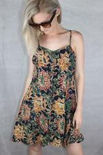 Vintage 90s GRUNGE Batik FLORAL PRINT GLASTONBURY BABYDOLL DRESS M / 12 Rad Rock
