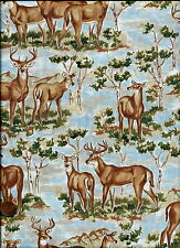 #052 DEER IN THE WOODS -OUT OF PRINT- QUILT & CRAFT FABRIC - DEER, TREES  1 ONLY